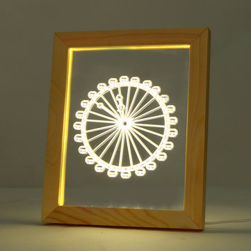 KCASA FL-719 3D Photo Frame Illuminative LED Night Light Ferris Wheel Pattern Desktop Decorative USB Lamp For Bedroom Art Decor Christmas Gifts