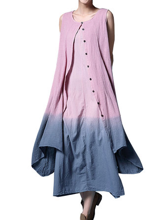 Elegant Women Contrast Color Gradient Fake Two-piece Cotton Linen Dress