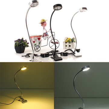 3W Bendable LED Table Light Bedside Study Reading Lamp with Clip