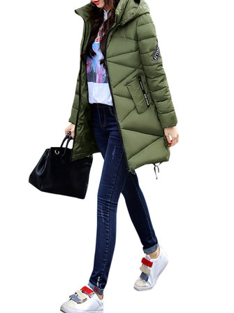 Casual Women Pure Color Long Sleeve Hooded Down Coats