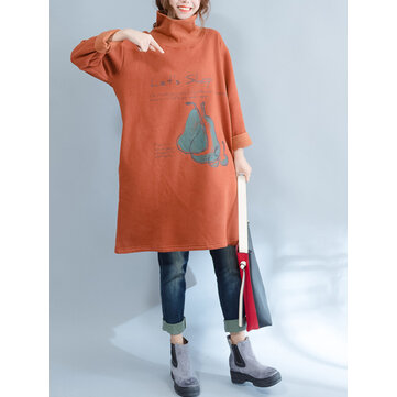 Plus Size Casual Women High Collar Thick Sweatshirts
