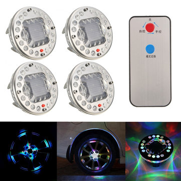 4Pcs LED Solar Energy Car Wheel Tire Flash Light Valve Cap RGB Lamp with Remote Controller