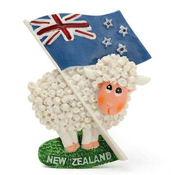 かわいい羊と旗の3D樹脂旅行冷蔵庫マグネットニュージーランドツーリストお土産