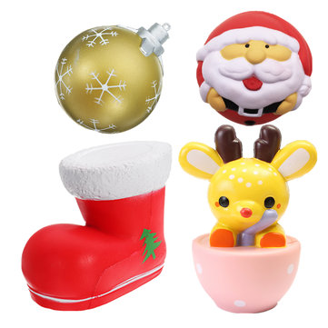 4PCS Christmas Gift Squishy Teacup Deer 14CM Santa Claus 7CM Snow Boot 11CM Gold Ball 9CM