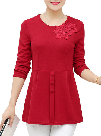 Knitted Long Sleeve O-Neck Women Elegant Sweater Blouse