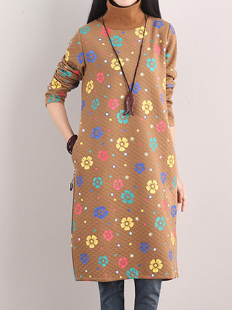 Vintage Printing Turtleneck Long Sleeve Thick Loose Women Dress