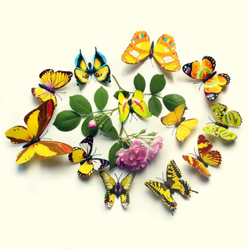 12Pcs 3D Colorful Butterfly Wall Sticker Fridge Magnet Home Decor Art Applique