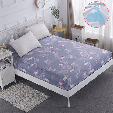 Polyester Mattress Protector Pink Flamingo Bed Cover Air-Permeable & Machine-washable Bed Cover