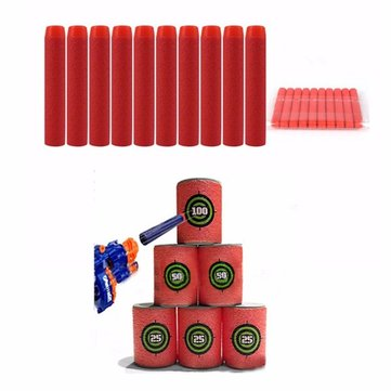 100pcs Toy Refill Darts Red for Nerf N-strike Series Blasters 7.2x1.3cm