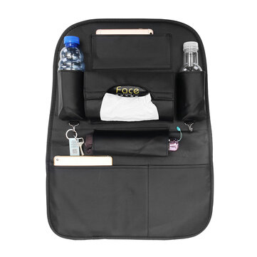 PU Leather Car Seat Back Storage Bag Waterproof Seat Cover Multi-functional Cup Holder Organizer