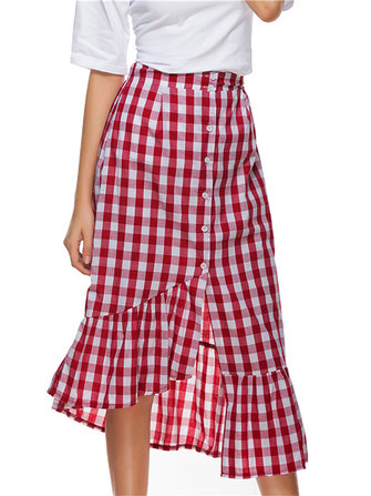 Women High Waisted Tight Fitting Button Down Fishtail Skirts
