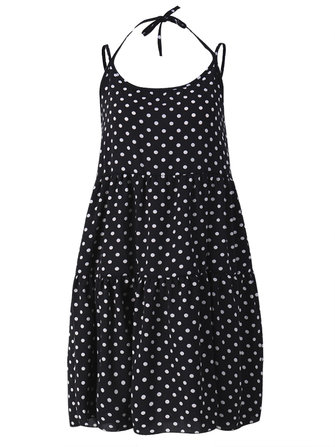 Sexy Summer Women Ruffle Polka Dot Strap Backless A-line Dress