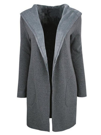 Elegant Women Loose Hooded Wool Cardigan Coat