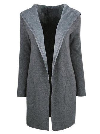 Mulheres elegantes casaco de lã casaco com capuz de lã