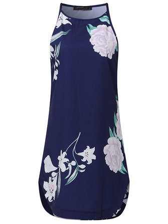 ZANZEA Sexy Women Off Shoulder Floral Printed Sleeveless Mini Dress