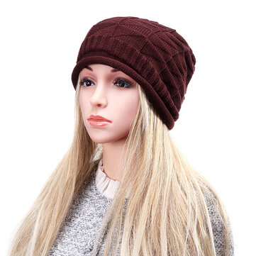 Unisex Knitted Crochet Ski Baggy Beanie Hats Gorro Triangular Diamond Shaped Grid Caps