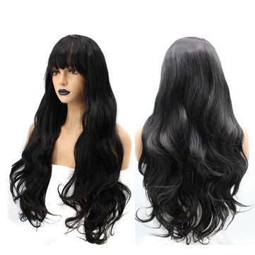 22 26Inch Women Synthetic Lace Front Wig Hair With Bangs Long Loose Wave Wavy Wigs Black