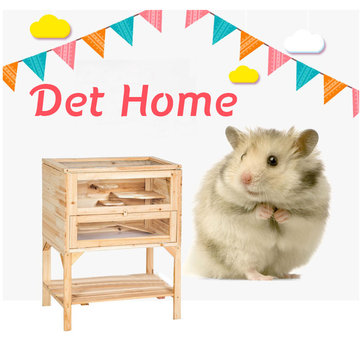 Wooden 3 Tiers Hamster Cage Wood House Pet Mouse Small Animals Rats Exercise