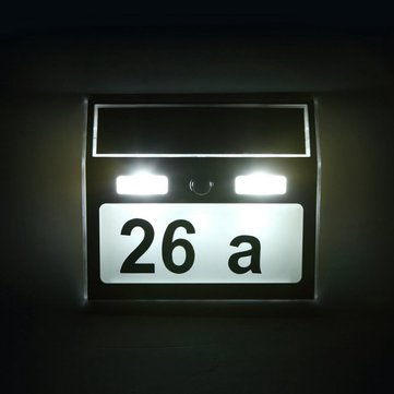 Solar Power 7 LED PIR Motion Sensor House Number Light Door Sign Wall Street Lamp