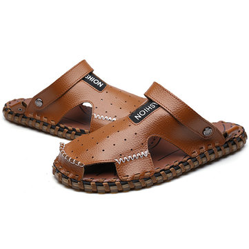 Men Summer Leather Sandal Shoes Casual Round Toe Flat Fashion Soft Beach Slipper