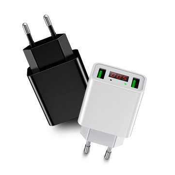 Bakeey 2.2A Dual Ports LED Display EU Plug Fast Charger For iPhone X 8Plus Oneplus 5t Xiaomi 6 Mi A1