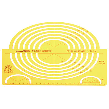 Large Ellipse Big Oval Semi Elliptical Shape Drawing Template KT Soft Plastic Ruler Drawing Board