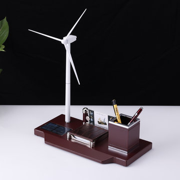 323×160×409mm Wind Windmill Turbine Solar Powered Generator Education DIY Model Desktop Organizer