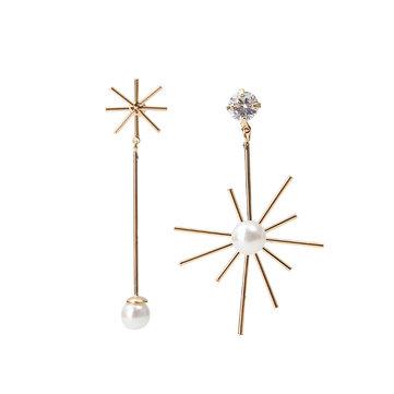 Trendy Rhinestone Artificial Pearl Flower Asymmetric Women Earrings