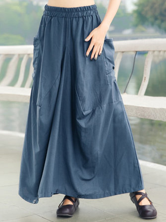Pure Color Elastic Waist Swing Hem Skirts