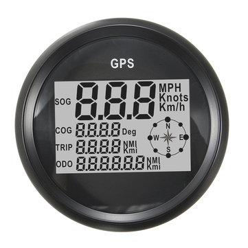 GPS Speedometer Waterproof Digital Odometer Gauge Black For Vehicle