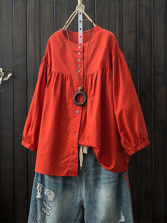 Women Long Sleeve Crew Neck Button Down Cotton Blouse