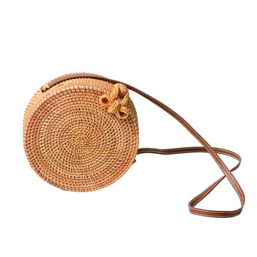 20 x 8cm Round Straw Bags Handmade Woven Beach Crossbody Bag Camping Travel Shoulder Bag