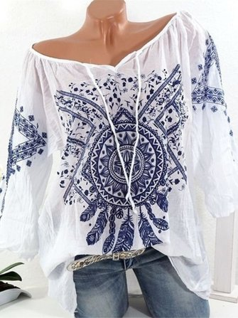 Bohemian V-neck Three Quarter Sleeve Blouse