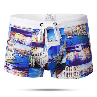 Summer Beach Printing Trunks Drawstring Beach Shorts
