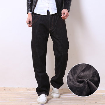 Men Winter Thicken Fleece Jeans Casual Loose Straight Legs Plus Size Warm Black Pants
