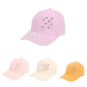 Women Cotton Iron Hoop Ring Baseball Cap Visor Peaked Hat Casual Hip-Hop Adjustable