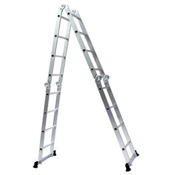 4.7M Multipurpose Aluminum Alloy Ladder 4Fold x 4Steps Ladder Scaffold Extendable