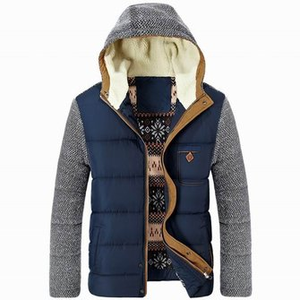 Thickened Windproof Warm Coat Casual Cotton Padded Hooded Patchwork Jacket
