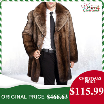 Mens Luxurious Trendy Faux Fur Coat Warm Mid Long Parka