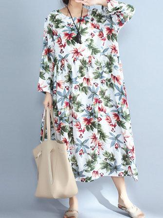 Vintage Floral Print O-Neck Elastic Waist Long Sleeve Maxi Dress