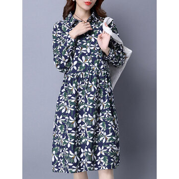 Elegant Floral Printed Long Sleeve Women Lapel High Waist Shirt Dress