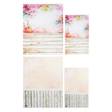 3x5FT 5x7FT Pink Theme Wood Floor Photography Backdrop Background Studio Prop