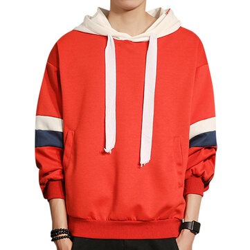 Men's Plus Size Breathable Patchwork Color Hooded Sweatshirt