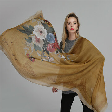 Women Satin Printing Scarves Breathable Vintage Cotton And Linen Lightweight Scarf