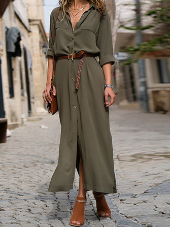 Women Casual Buttons Down Front Long Sleeve Shirt Maxi Dress