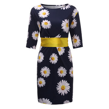 Elegant Women Flower Printed Pencil Dress With Belt