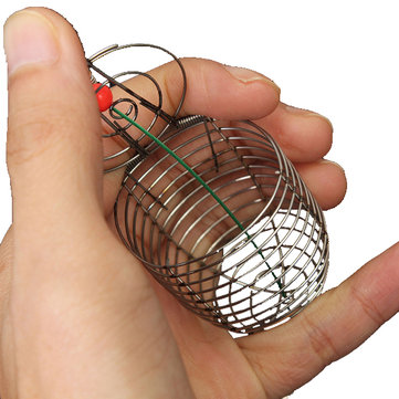 Stainless Steel Small Fishing Bait Cage Trap Basket Feeder Holder