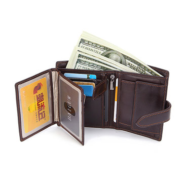 Men Genuine Leather Short Wallet Credit Card Holder