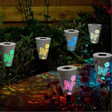 Garden Solar Power Butterfuly Pattern Colorful LED Light Outdoor Lawn Courtyard Landscape Lamp