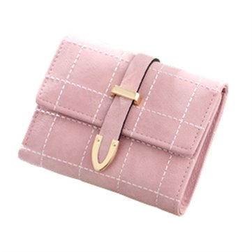 Women 3 Fold Wallet Short PU Leather Wallet Coins Bag